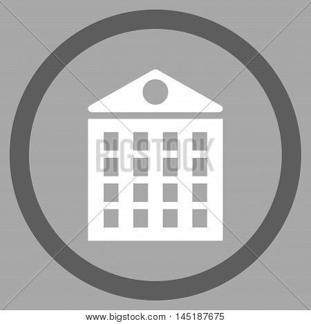 Multi-Storey House vector bicolor rounded icon. Image style is a flat icon symbol inside a circle, dark gray and white colors, silver background.