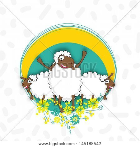 Sheep's with floral frame for Muslim Community, Festival of Sacrifice, Eid-Al-Adha Mubarak.