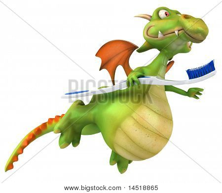 Dragon and toothbrush poster