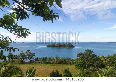View of a small island of the Marovo Lagoon in Solomon Islands