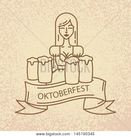 The symbol of the Oktoberfest in Munich, Germany. Linear icon with cute Bavarian waitress dressed in traditional costume . Big mug of beer in her hands.