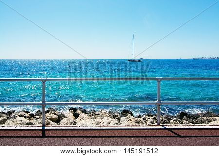 Bicycle Route And Sailboat