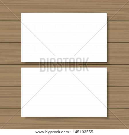 Business cards template. Blank mockup on wooden background. Add your own background, text, logo, or any other design. Vector illustration.