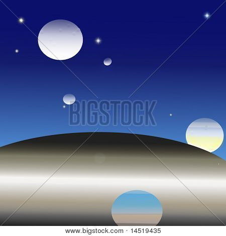 Moons, stars and planets