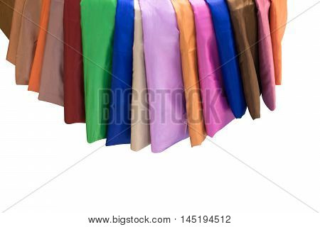 Colorful material of silk or satin fabric isolated.