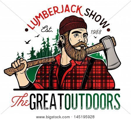 Lumberjack Template Logo. Lumberjack mascot holding the axe. Vector Design Illustration.