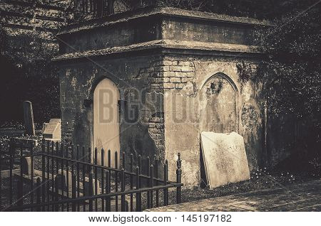 Graveyard Tombstones and Crypt In Black And White