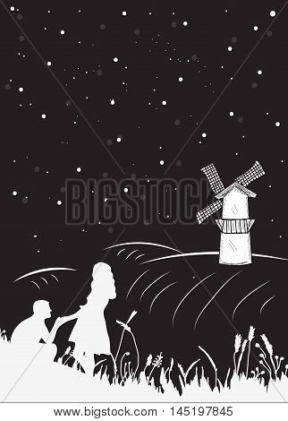 Bookcover a couple nights on the field to the mill the starry sky. Couple romantic silhouette. Vector illustration