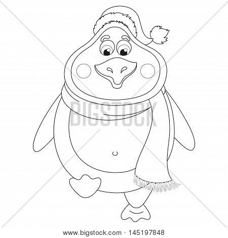 New Years penguin in winter hat and scarf walks, fat birdie takes step, funny character raises paw, coloring book page for children, vector illustration
