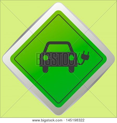 electric vehicle charging station electric recharging point simple icon vector illustration.