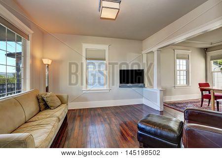 Bright Beige Living Room Interior In Modern House.