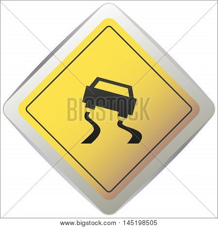 Vector slippery road sign on a white background vector illustration