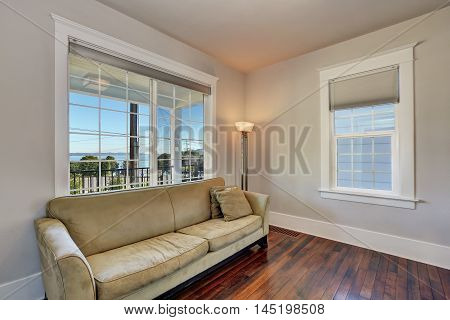 Upstairs Living Room Interior With Wood Flooring.