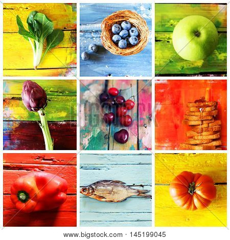 Collage of multicolor fruit and vegetable photo. Colors - blue yellow green red