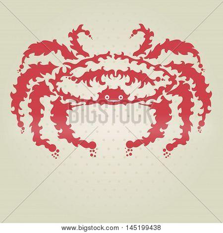 Hand drawn decorative crab, design element. marine theme