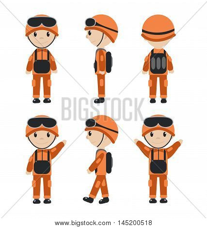 Cartoon character of the worker soldier construction worker. The guy in the form of talisman. Worker builder soldier mascot logo. Vector illustration