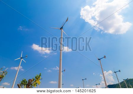 Green Mountain With Park Of Wind Turbines