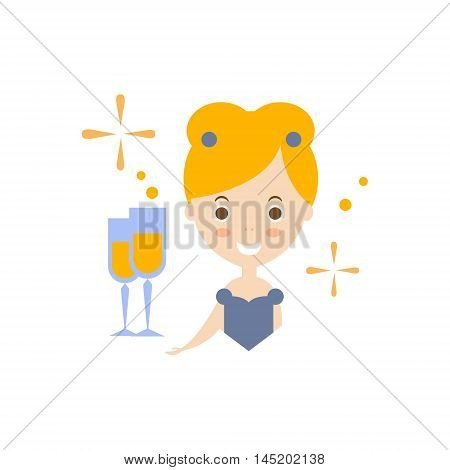 Celebrity As Personal Happiness Idea. Woman In Fancy Dress With Champagne Glass Simple Flat Cartoon Vector Illustration On White Background