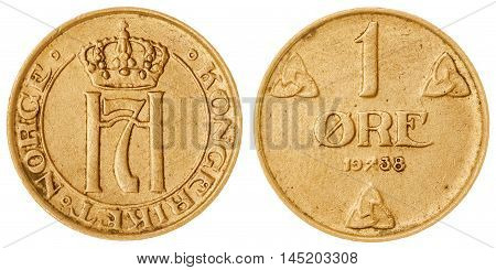 Bronze 1 ore 1938 coin isolated on white background Norway poster