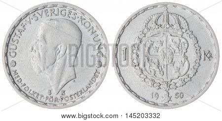 1 Krone 1950 Coin Isolated On White Background, Sweden