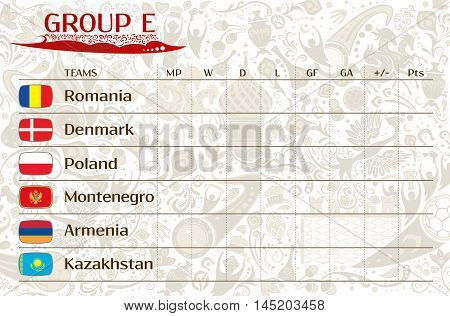 Football world championship 2018 European qualifiers matches group E table of results vector template