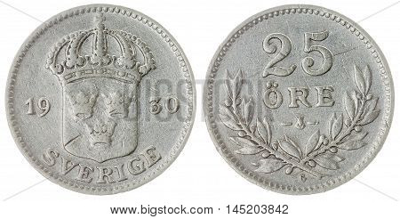 25 Ore 1930 Coin Isolated On White Background, Sweden