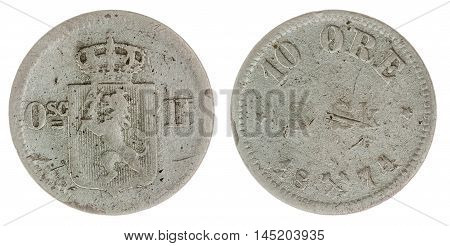 10 Ore 1871 Coin Isolated On White Background, Norway