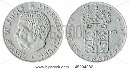 1 Krone 1966 Coin Isolated On White Background, Sweden