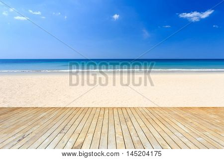 Empty Top Of Wooden Decking And View Of Tropical Beach