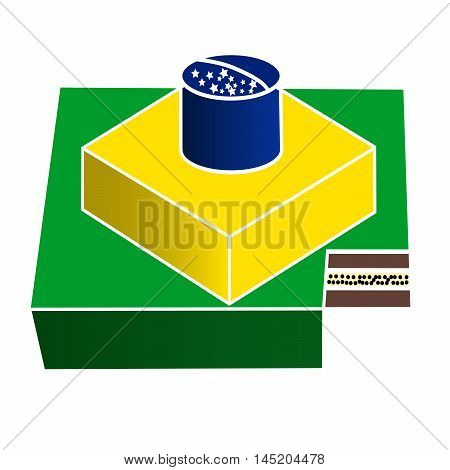 Vector illustration of logo for the brazilian cake. Isolated drawing that consists of multi-tiered cream dessert close-up on a white background.The icon for the birthday holiday new year football
