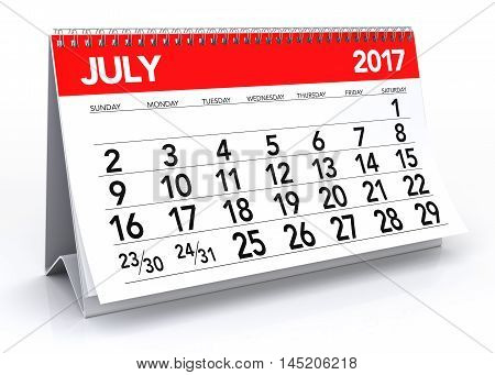 July 2017 Calendar. Isolated On White Background. 3D Illustration