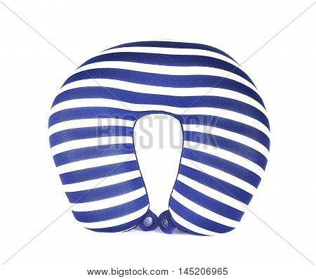 blue neck pillow sleep travel  on white