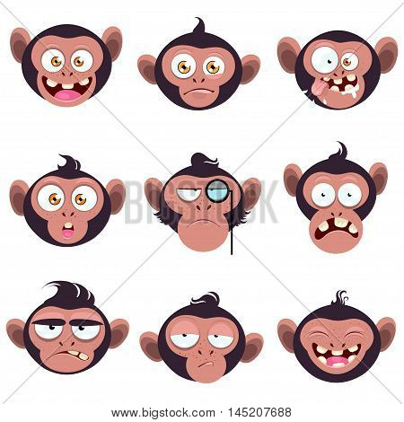 Set of smiles monkeys. Funny monkeys with different expressions of emotion.