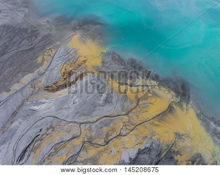 Degraded Landscape In Poland. Destroyed Land. View From Above. Surrealistic Lake.