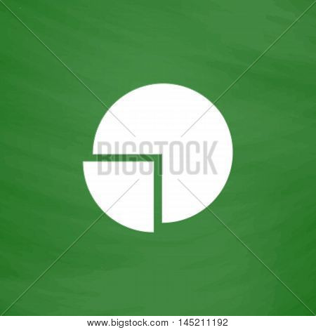 Pie chart. Flat Icon. Imitation draw with white chalk on green chalkboard. Flat Pictogram and School board background. Vector illustration symbol