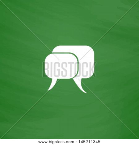 Dialogue quote. Flat Icon. Imitation draw with white chalk on green chalkboard. Flat Pictogram and School board background. Vector illustration symbol