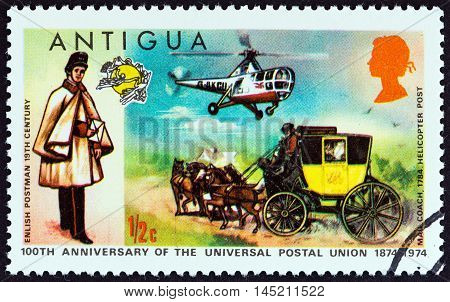 ANTIGUA - CIRCA 1974: A stamp printed in Antigua issued for the Centenary of U.P.U. shows English Postman, Mailcoach and Westland Dragonfly Helicopter, circa 1974.