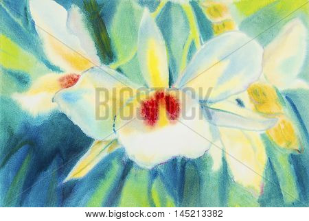 Abstract watercolor original painting whitered color of orchid flower and green leaves in smooth background.