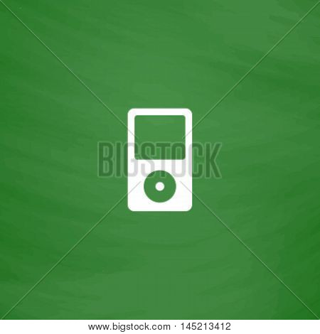 Portable media player. Flat Icon. Imitation draw with white chalk on green chalkboard. Flat Pictogram and School board background. Vector illustration symbol