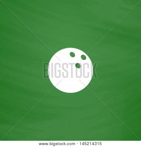 Bowling ball. Flat Icon. Imitation draw with white chalk on green chalkboard. Flat Pictogram and School board background. Vector illustration symbol