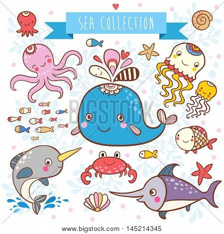 Sea fishes and animals vector illustration. Sea Animals Collection.