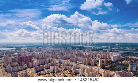 Dormitory area of the Kiev city in the summer. Aerial view. From above.