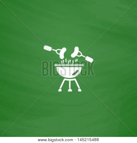 Grill Or Barbecue. Flat Icon. Imitation draw with white chalk on green chalkboard. Flat Pictogram and School board background. Vector illustration symbol