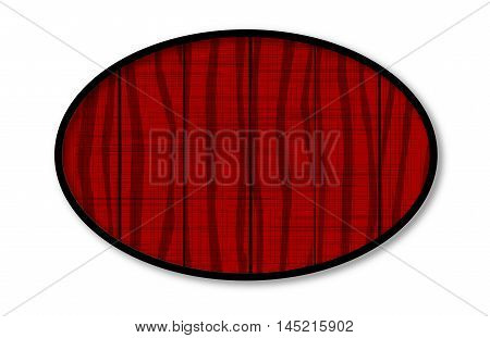 A dark red wood ovel showing grain and grunge effect..