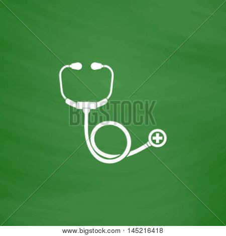 Stethoscope. Flat Icon. Imitation draw with white chalk on green chalkboard. Flat Pictogram and School board background. Vector illustration symbol