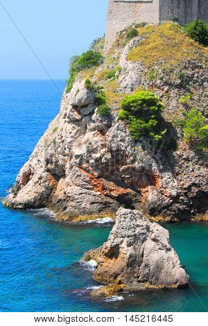 Background picture of rocky coastline in the Balkans
