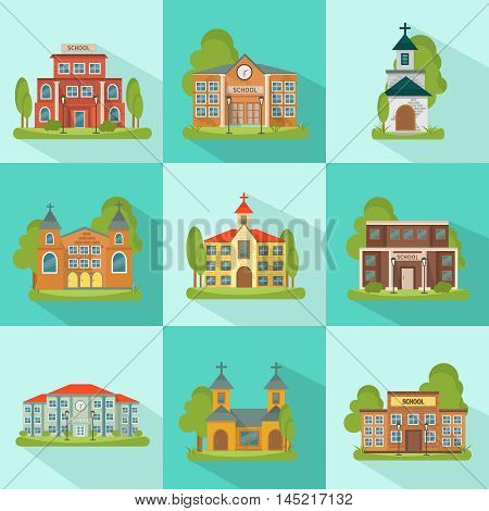 Building colored and isolated icon set with school church municipal buildings in squares vector illustration