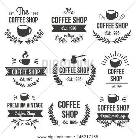 Hand drawn coffee label set with the coffee shop premium vintage est 1986 descriptions vector illustration