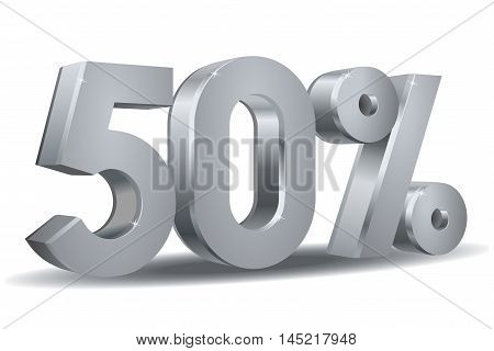 Vector of 50 percent in white background