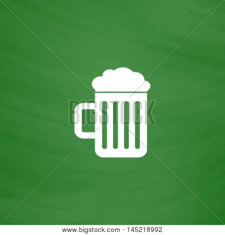 Simple Beer mug. Flat Icon. Imitation draw with white chalk on green chalkboard. Flat Pictogram and School board background. Vector illustration symbol
